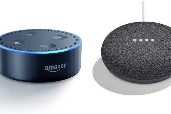 Image of Amazon Echo Dot and Google Home Mini