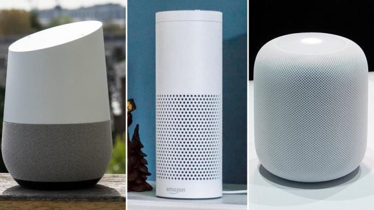 Image of Google Home, Amazon Echo and Apple Homepod
